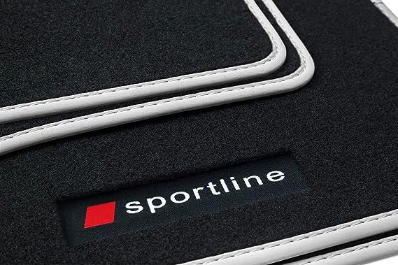 Teileplus24 Pv100 Fußmatten Gummimatten Sportline Design Bandeinfassung Ziernähte Bandeinfassung Silber Auto