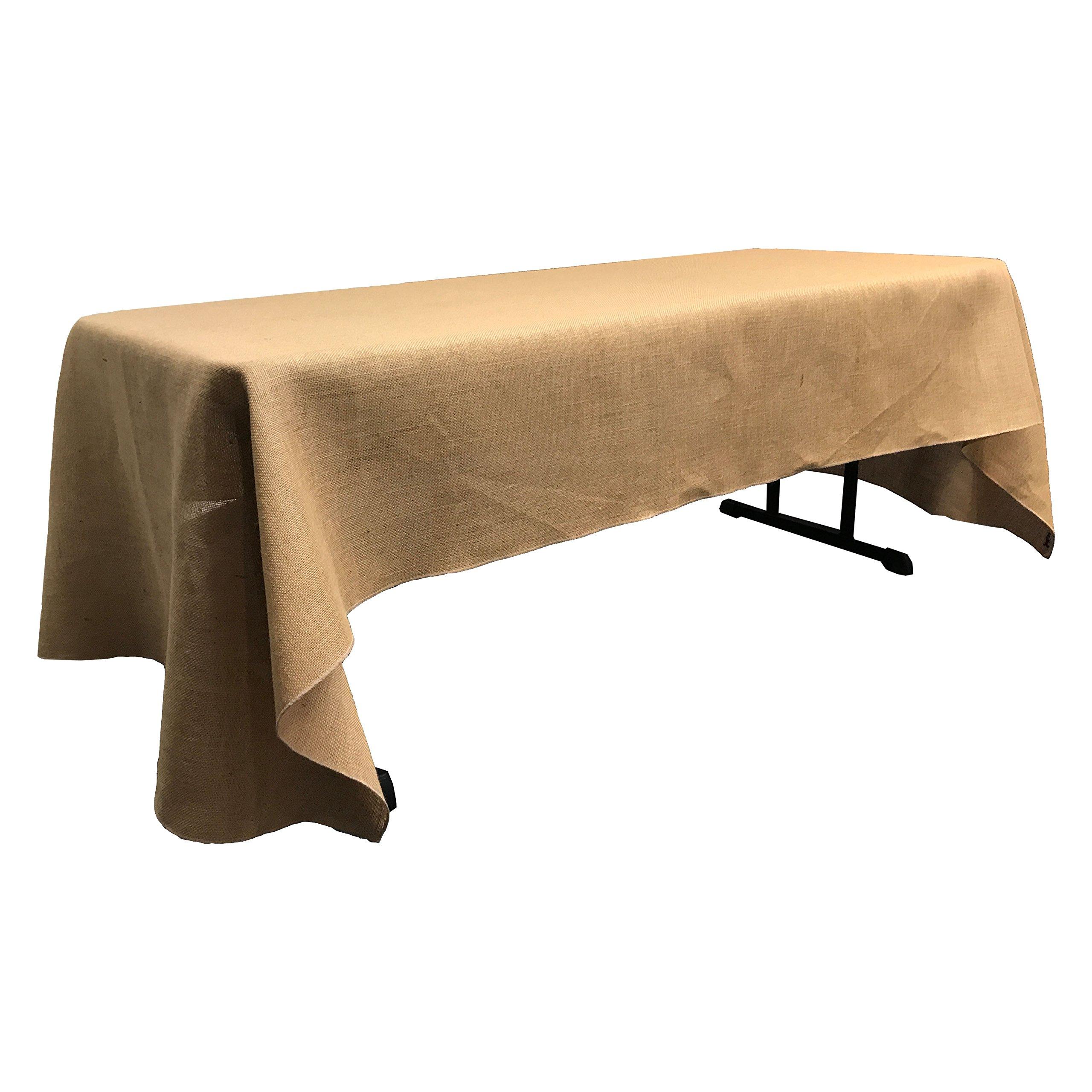 LA Linen 60'' by 126'' Rectangular Jute Burlap Tablecloth/Pack of 1/Natural.