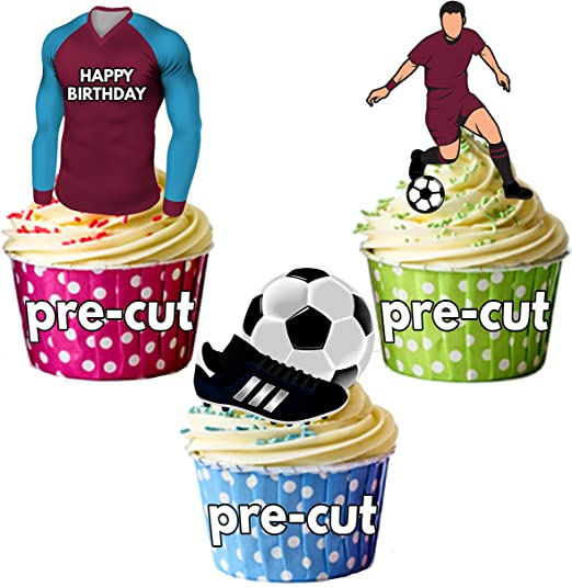 12 PRE-CUT stand-up EDIBLE football CITY cake decorations toppers in light blue