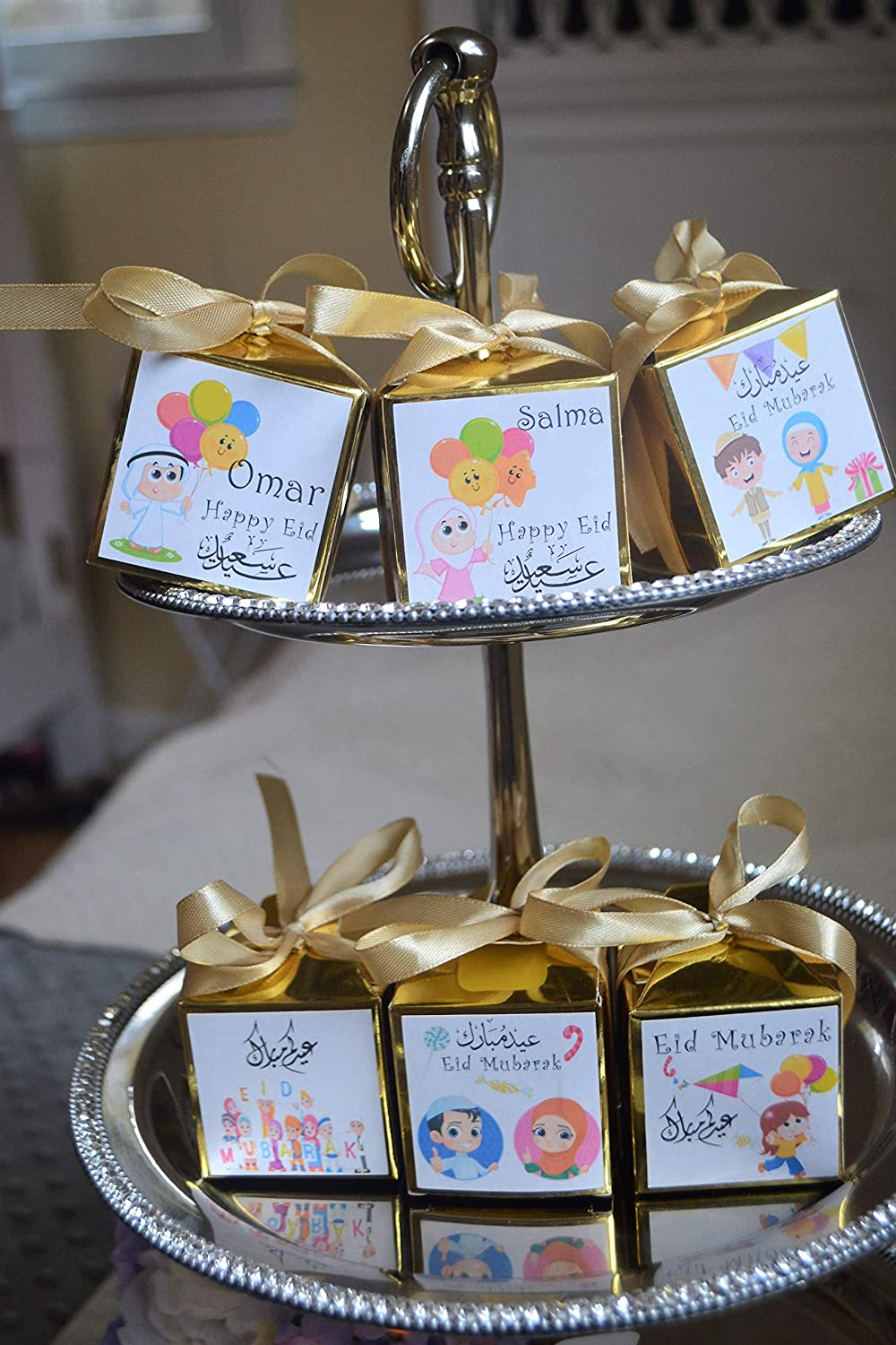 Ramadan candy box Eid candy boxes Eid kids favors and treats Set of 6 Ramadan Goodie bags Eid party supplies Eid gift bags Gold box