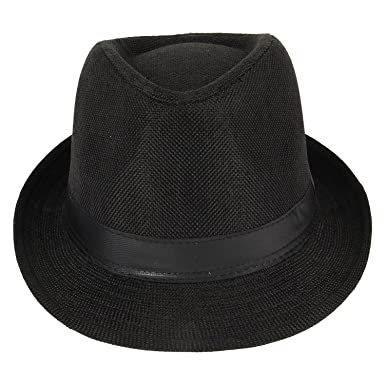 Zacharias Men s Black Fedora Hat  Amazon.in  Clothing   Accessories 686f3ccad642