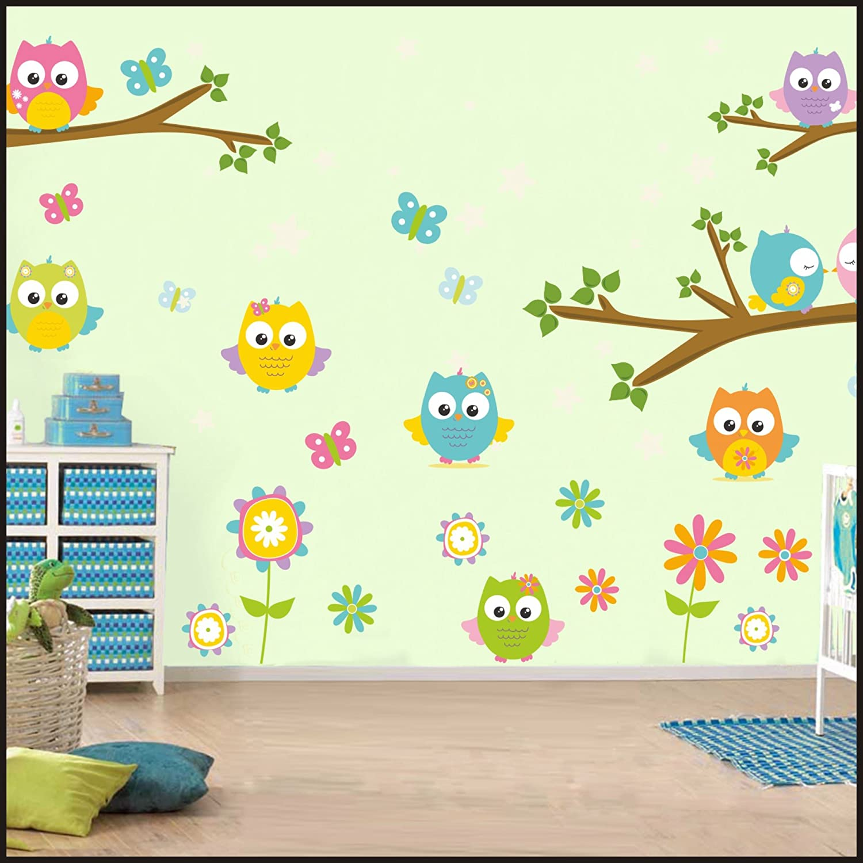 Hiboux Stickers muraux pour enfants Chambre Stickers Muraux Art Mural 908, multicolore, 150cm / 42cm DecorsConcept Art 908