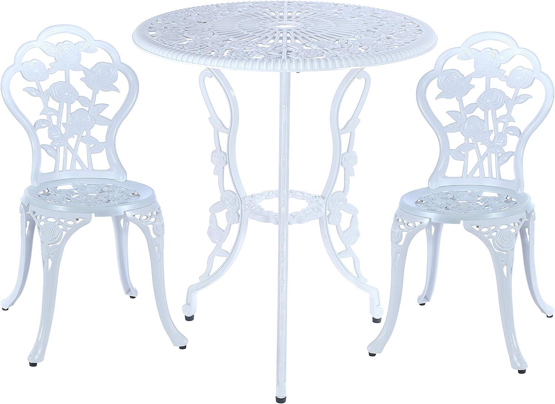 C/G 3 Piece Bistro Set,Outdoor Patio Set,Anti-Rust Cast Aluminum Bistro Table Set for Park Yard Front Porch Furniture(White)