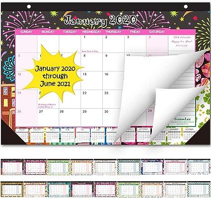 Calendario de pared de escritorio 2020-2021 mensual (enero de 2020 a junio de 2021), colorido, calendario para colgar de escritorio para planificador diario, 30,48 x 43,18 cm: Amazon.es: Oficina y papelería