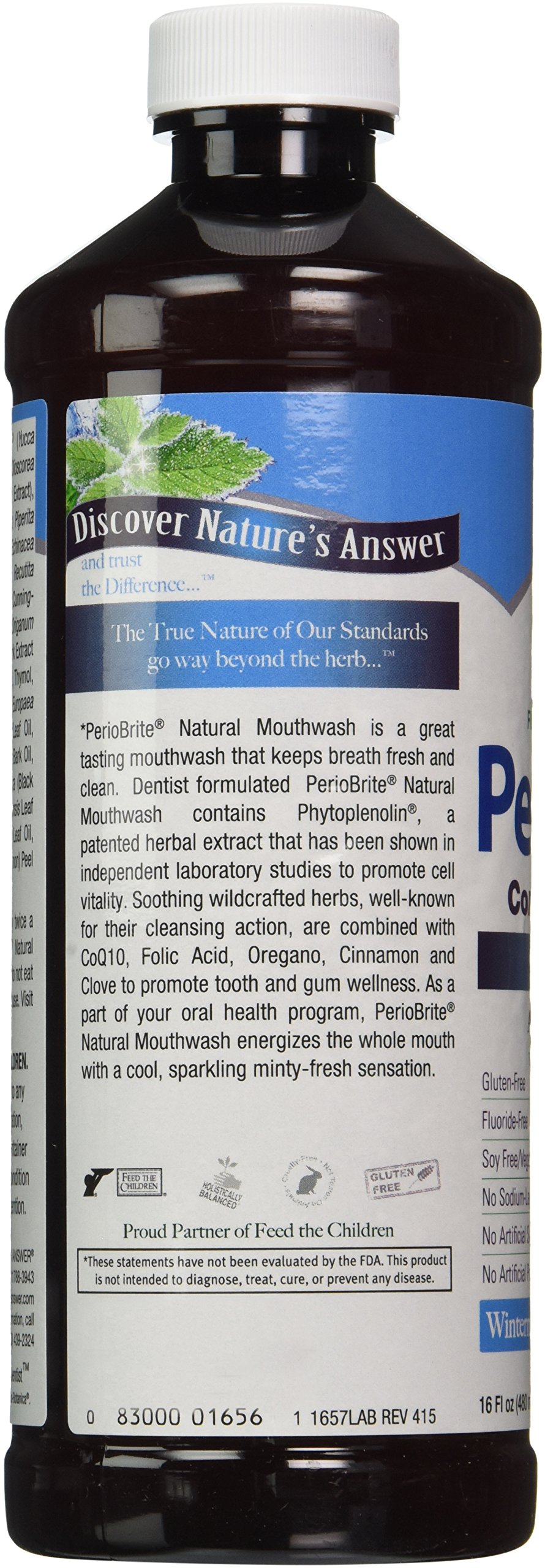 Nature's Answer Periowash Alcohol-free Mouthwash, Wintermint, 16 Ounce (Pack of 12)