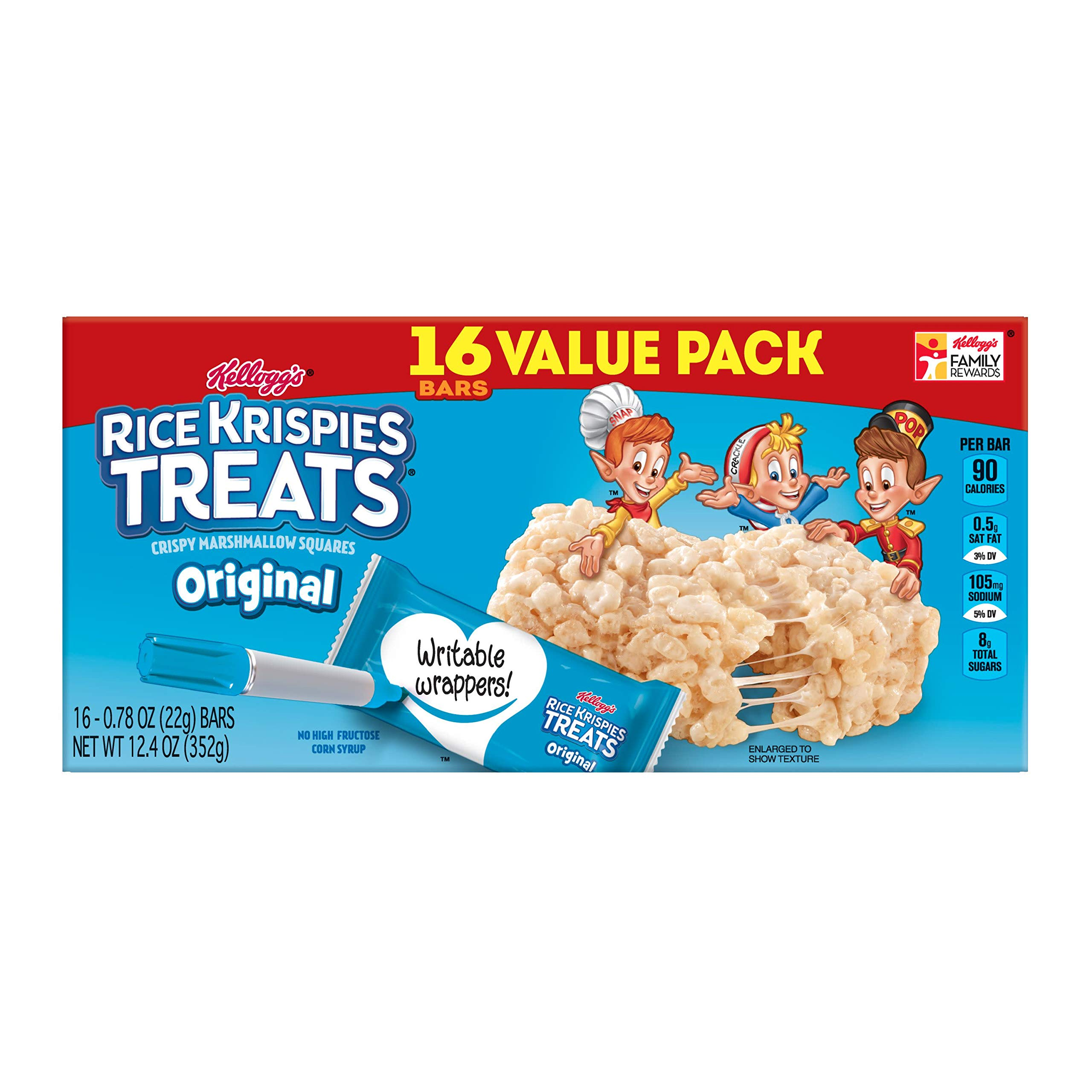 Kellogg's Rice Krispies Treats, Crispy Marshmallow Squares, Original, Value Pack, 0.78 oz Bars(16 Count) by Rice Krispies (Image #11)