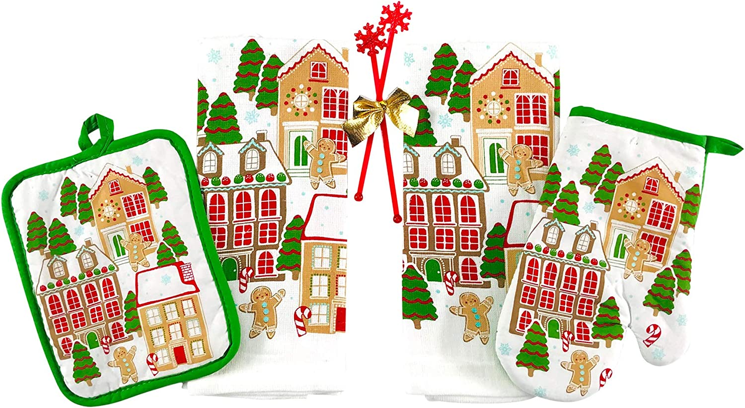 Winter Christmas Kitchen Towels Pot Holders Set: Fun Gingerbread Man in a Gingerbread Land