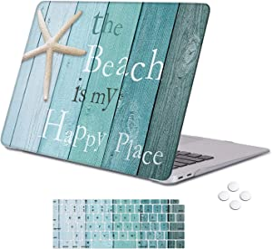 Holilife MacBook Air 13 Inch Case 2020 2019 2018 Release A1932 with Touch ID Retina Display, Plastic Hard Shell Case and Keyboard Cover for Newest Mac Air 13'' - Beach