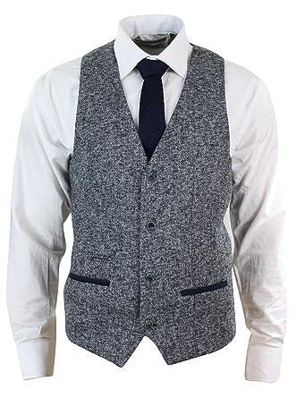 Veste ou Gilet Homme Tweed Gris Bleu Coupe cintrée Tissu épais Style Chic  et décontracté  Amazon.fr  Vêtements et accessoires 3c9a8e1f43c