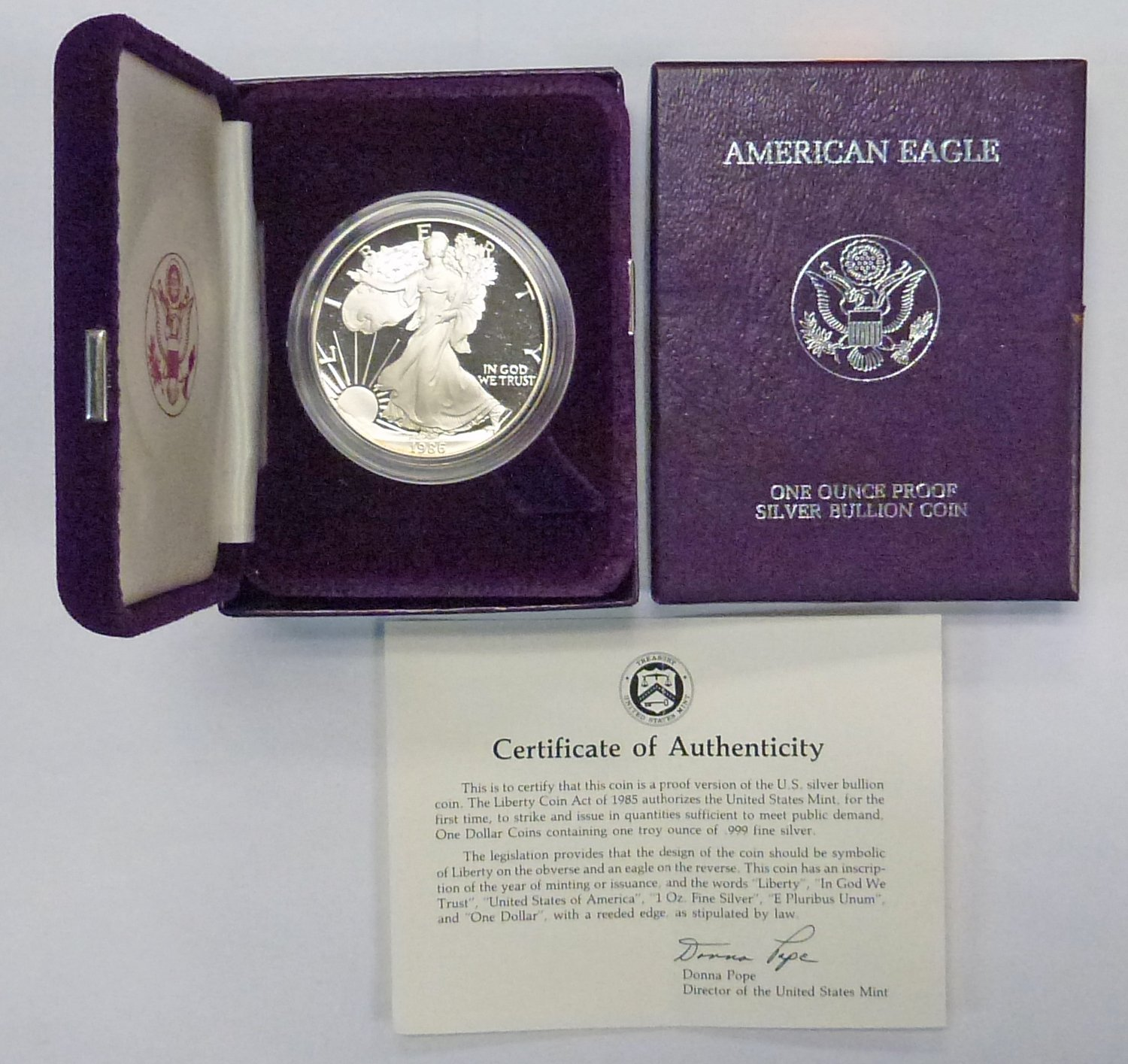 1986-S Proof $1 American Silver Eagle Box OGP /& COA