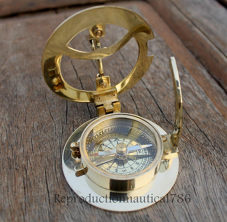 ソリッド真鍮コンパスMaritime Nautical Astrolabe Marine Ship Instrumentコンパス B07C8G29G4
