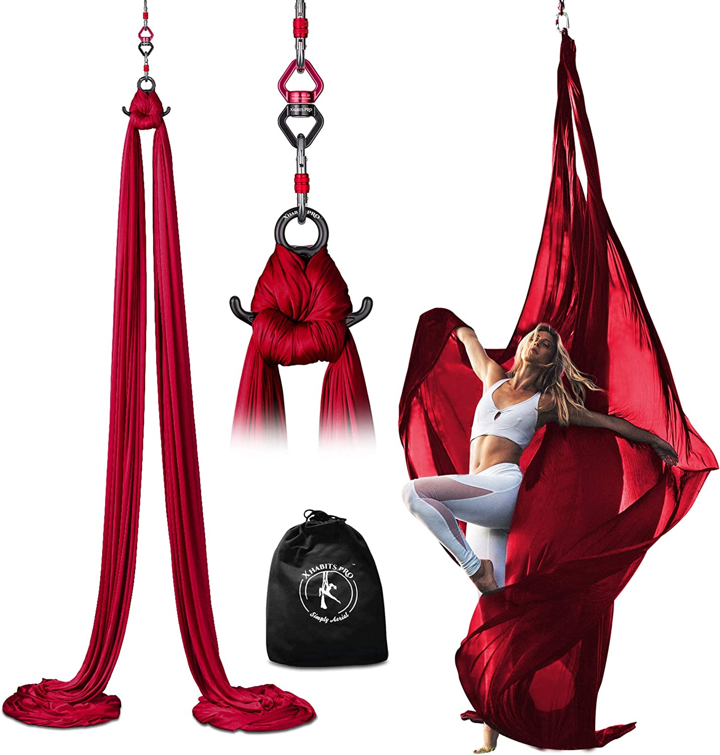 X Habits Pro Professional Aerial Silks Equipment for All Levels - Medium Stretch Aerial Yoga Swing & Hammock Kit - Perfect for Indoor Outdoor Aerial Dance, Circus Arts – All Hardware Included