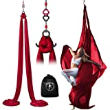 X Habits Pro Professional Aerial Silks Equipment for All Levels - Medium Stretch Aerial Yoga Swing & Hammock Kit…