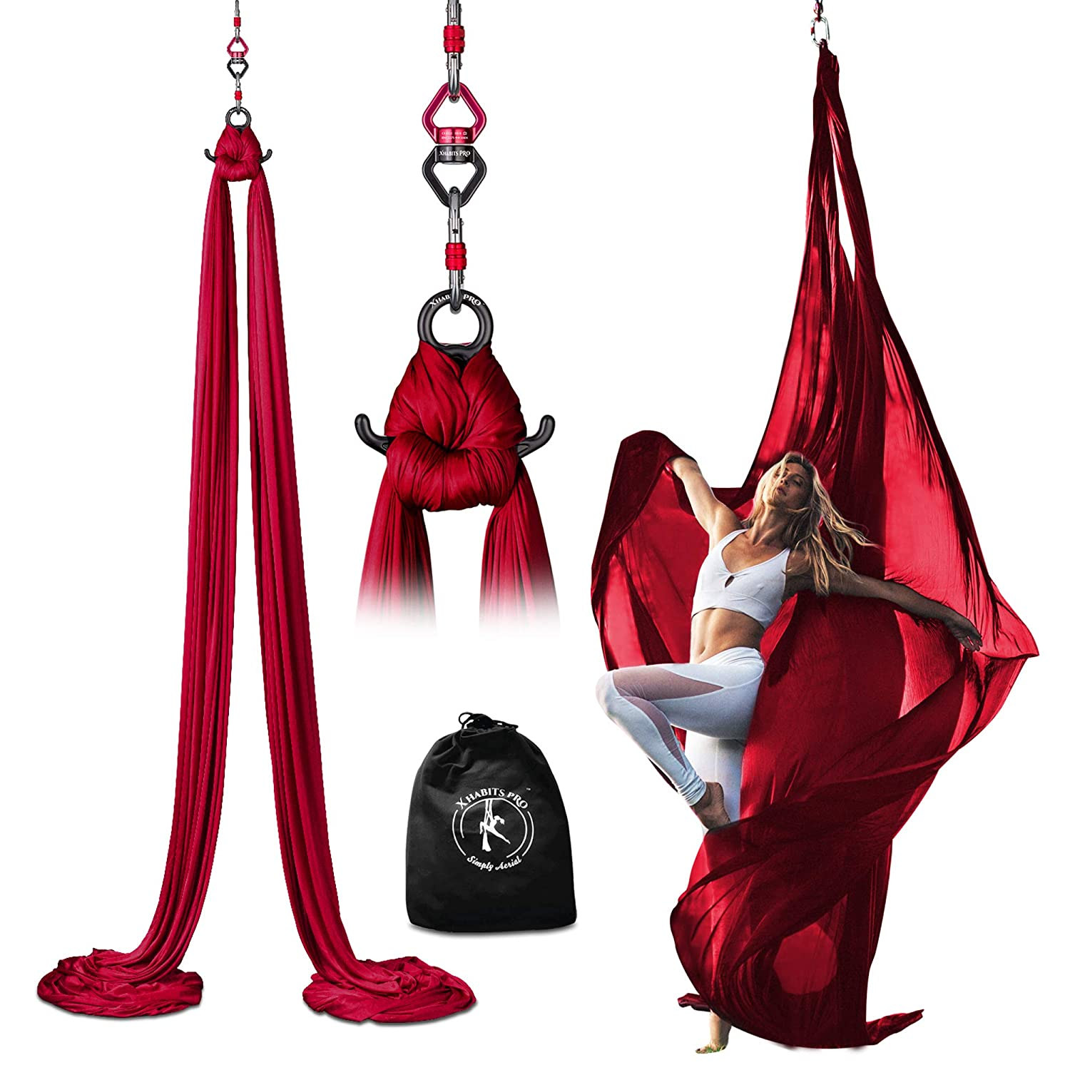 X Habits Pro Professional 10 Yards Aerial Silks Equipment for All Levels - Medium Stretch Aerial Yoga Swing & Hammock Kit - Perfect for Indoor Outdoor ...
