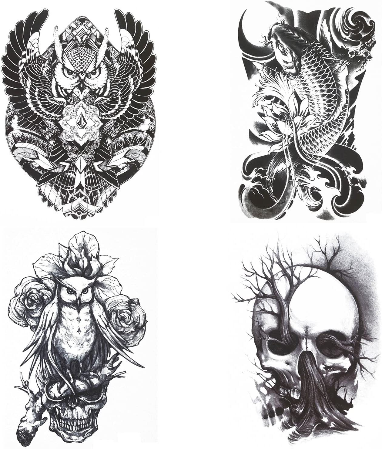 COKOHAPPY Grande Tinta Temporales Tatuaje 4 Diferente hoja Koi ...
