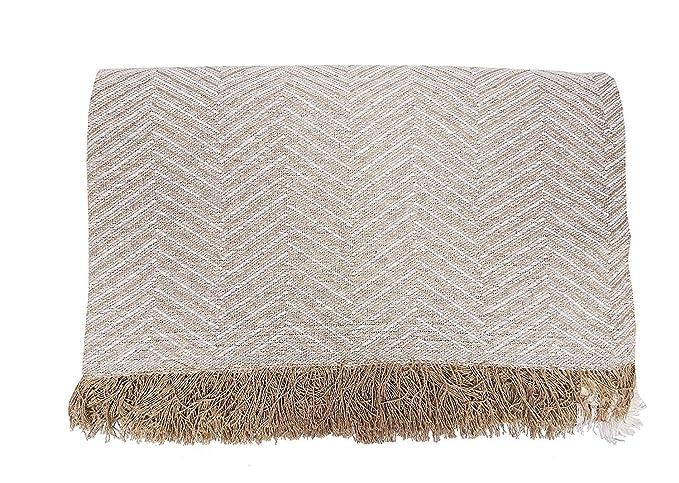 Cabatex Home - Colcha Multiusos Plaid Foulard Cubre SOFÁ O Cama Mod. ZIGA (Gris, 180_x_260_cm)