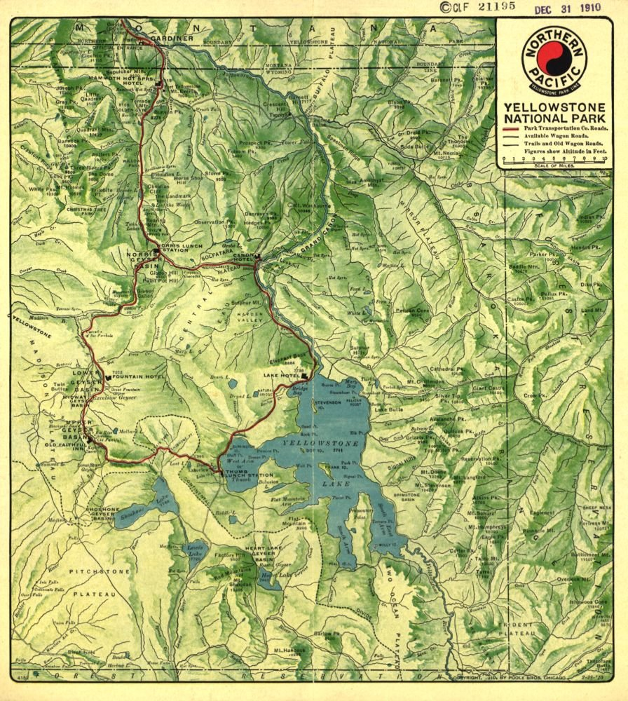 Amazon.com: Vintage 1910 Map of Yellowstone National Park. United ...