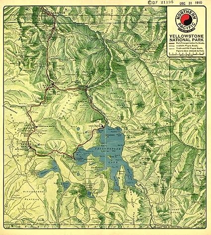 Yellowstone Us Map.Amazon Com Vintage 1910 Map Of Yellowstone National Park United