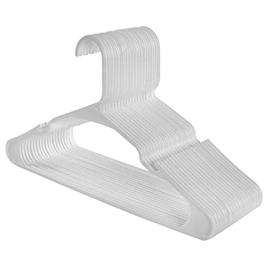 SONGMICS Clothes Hangers Plastic 50 Pack, Easy and Convenient with Widened Non Slip Grooves and Reinforced Ends, White UCRP03W-50