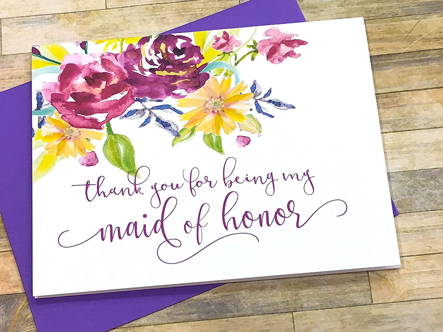 Amazoncom Thank You For Being My Maid Of Honor Wedding Day Card