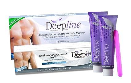 deepline Práctico de depilación para hombres con 2 bandas cremas Plus gratis fría Cera depilatoria para