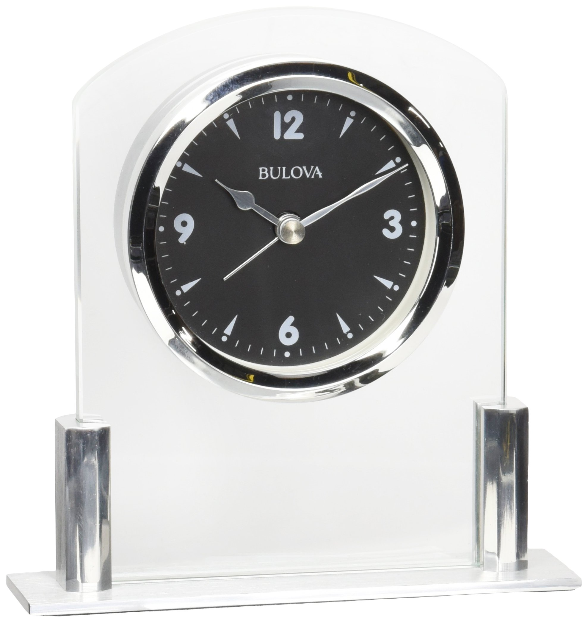 Bulova B5022 Newton Table Clock, Polished Silver-Tone Finish - Compact tabletop design with alarm Floating black dial with contrasting white numerals and hour markers suspended in clear beveled glass frame Protective glass lens - clocks, bedroom-decor, bedroom - 81CpsTOmNML -