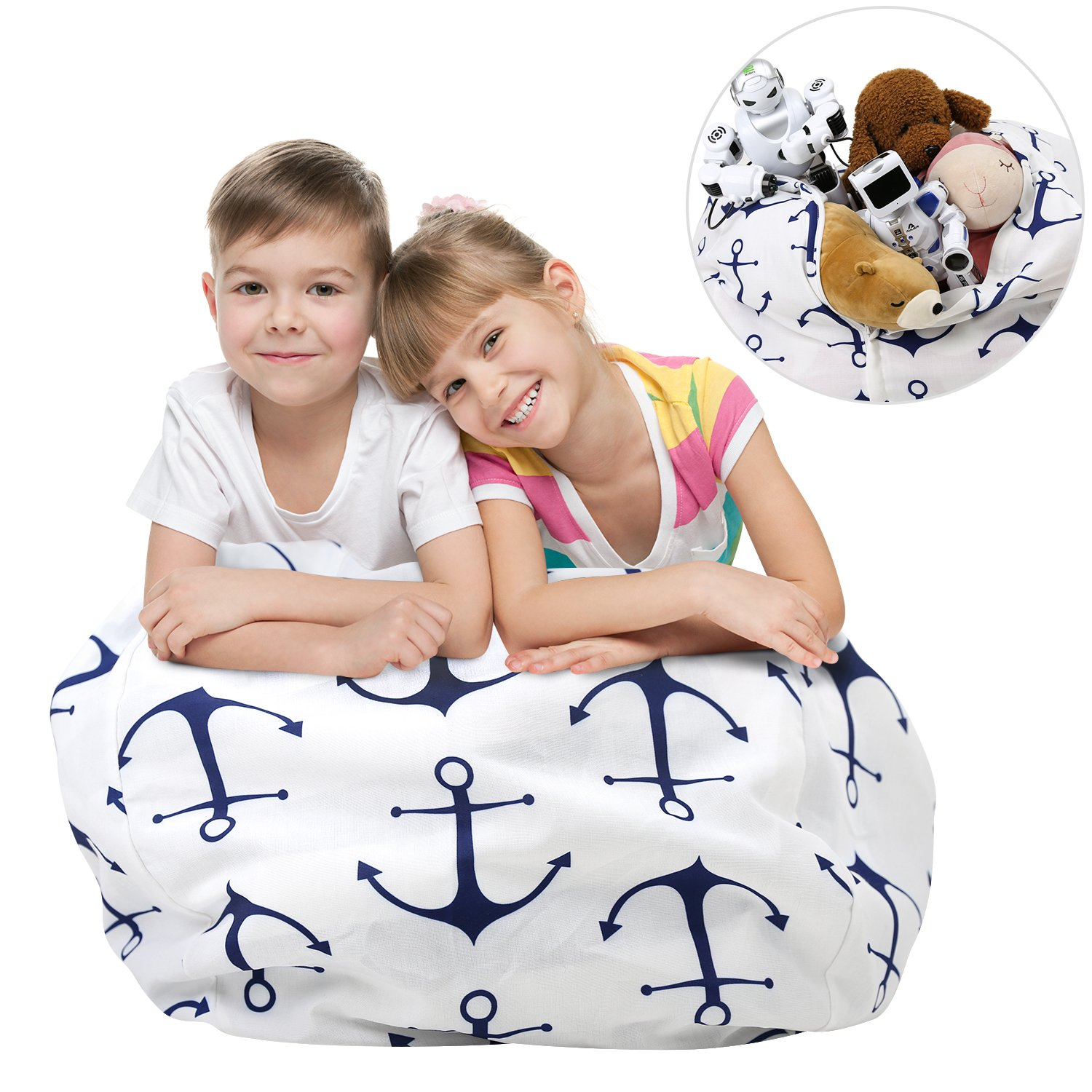 Stuffed Animal Storage Bean Bag Chair, Zooawa Kids Bedroom Organizer for Plush Cuddly Jumbo Animal Toys - 26'', Blue + White Anchor by Zooawa