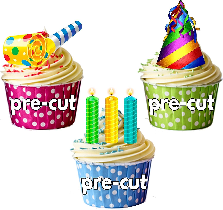 Fun colorido Fiesta de cumpleaños pack, decoraciones de tartas – 36 – Comestible stand-up Cupcakes: Amazon.es: Hogar