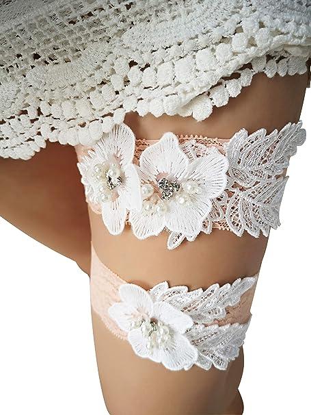 2720cfb03 Amazon.com  YuRong Flower Floral Design Garter Wedding Garter Bridal Garter  Stretch Rhinestone Garter Set G30 (blush)  Clothing