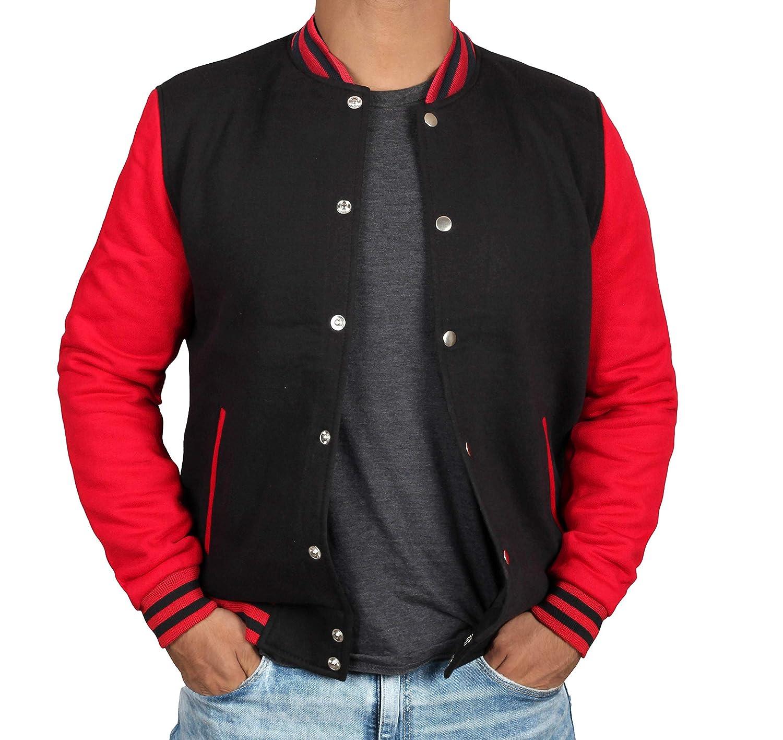 BlingSoul OUTERWEAR メンズ XX-Large Black & Red Varsity Jacket B07JQVF2YQ