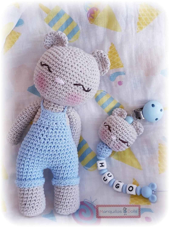 Pack Peluche Osito+chupetero crochet personalizado+mordedor ...
