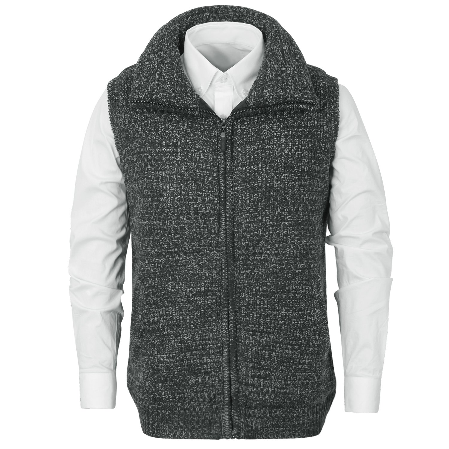 ililily Men Heathered Turtleneck Zip-up Front Knit Sweater Casual Vest Jacket