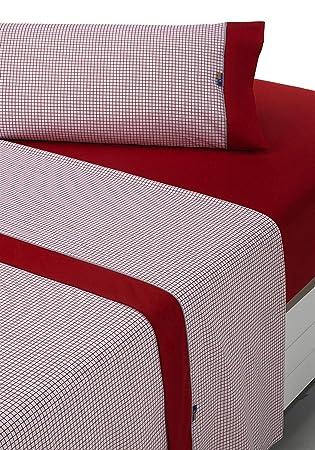 Sabanalia - Juego de sábanas estampadas Combo (disponible en varios tamaños y colores), cama 105, rojo: Amazon.es: Hogar