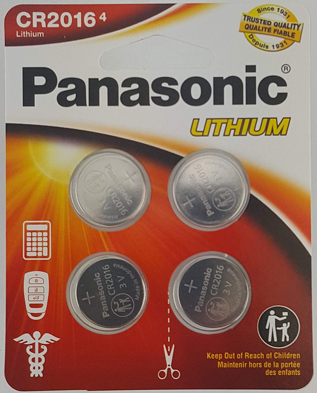 Panasonic CR2016 3.0 Volt Long Lasting Lithium Coin Cell Batteries in Child Resistant 4 Pack Standards Based Packaging