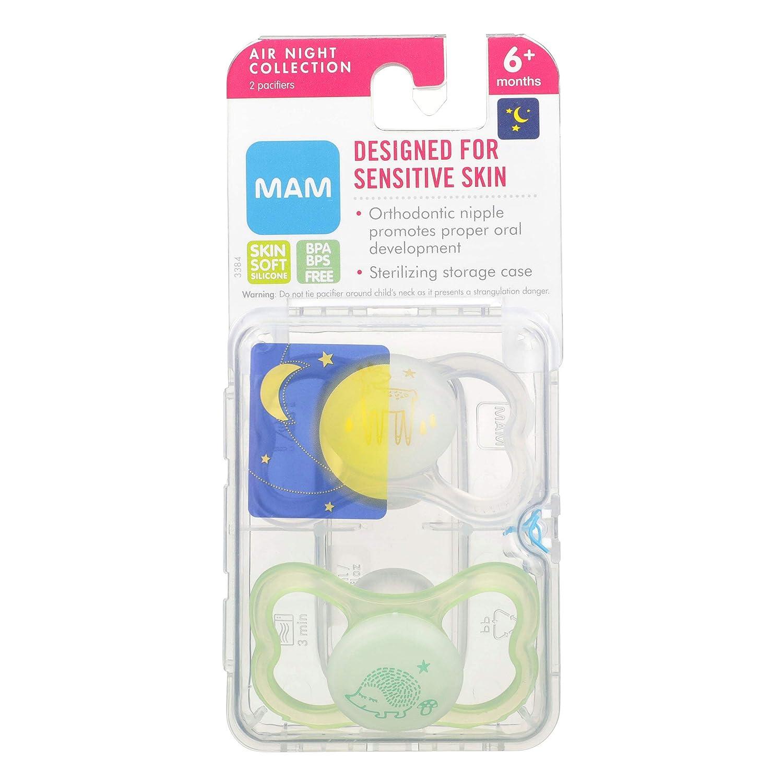 Amazon.com: MAM Aire Noche ortodoncia chupete, 2 Pack ...