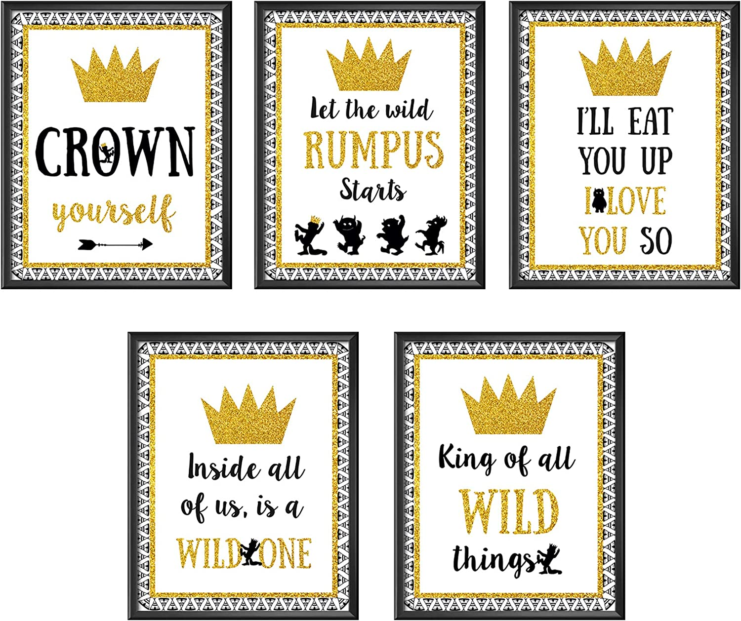 Wild One Party Favors - Party Food Sign - Size 8 X 10 inch, Set of 5 Wild one Themed First Birthday Party Decoration Sign