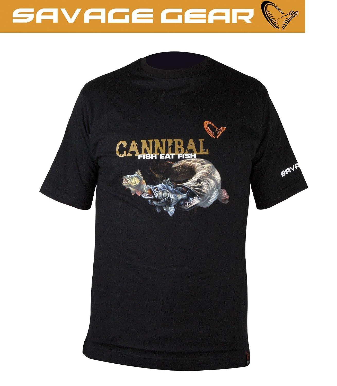 Gr/ö/ße:M Angler Shirt Savage Gear Cannibal T-Shirt Anglershirt T Shirt Angelbekleidung