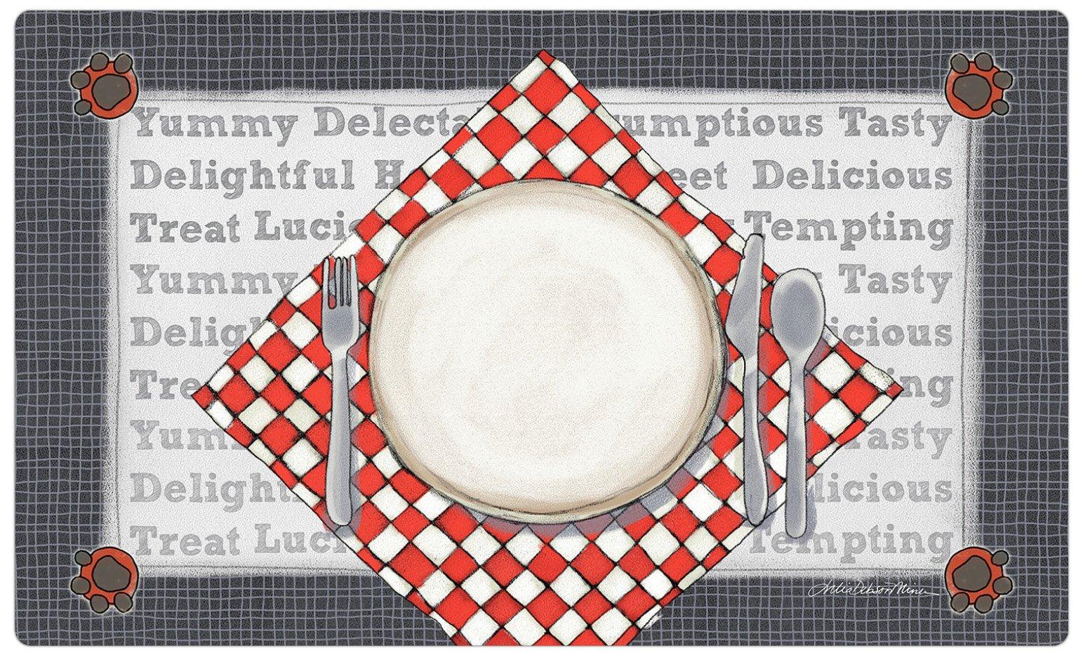 Drymate Dinner Plate Pet Bowl Place Mat, Silver, Medium/12'' x 20''