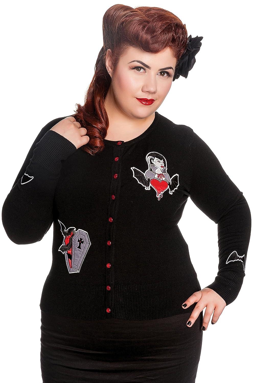 Hell Bunny Plus Size Gothic Black Vampire Bat Coffin Bleeding Heart Cardigan