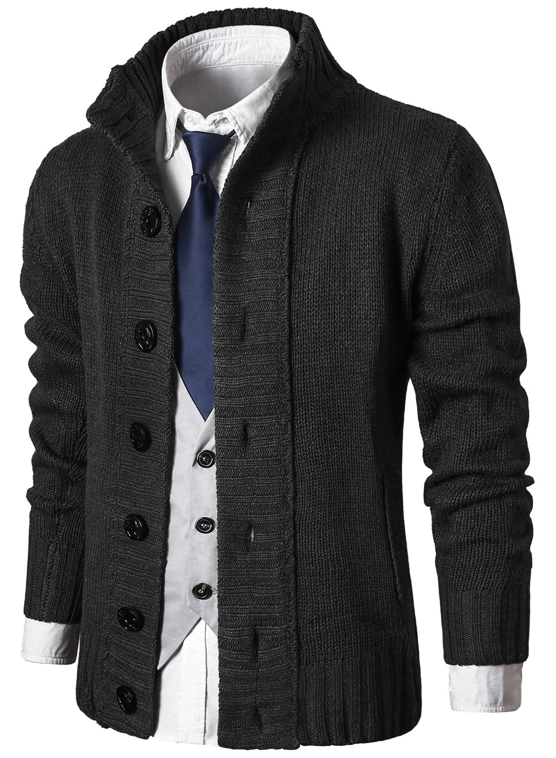 a6ade202a8 MIEDEON Mens Casual Stand Collar Cable Knitted Button Down Cardigan Sweater