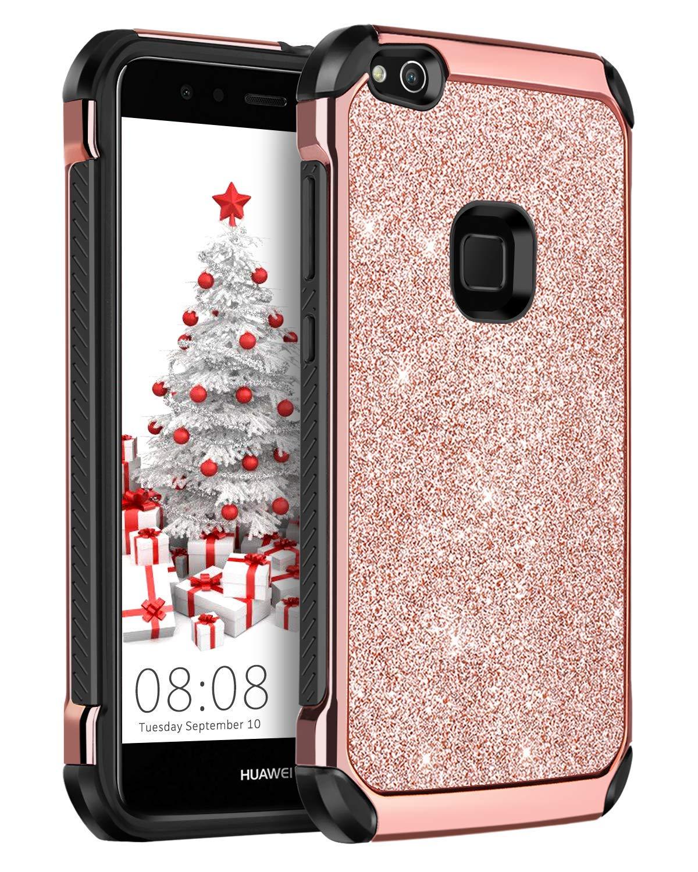 Huawei P10 LiteケースキラキラYINLAIキラキラスリムハイブリッドソフトTPUバンパーハードPCカバー付きキュートで光沢のあるキラキラPUレザー保護電話ケース女の子用女性Huawei P10 Lite 5.2インチローズゴールドピンク   B07FVK8QCK