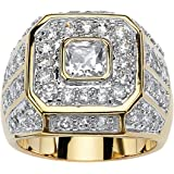 Men's Square-Cut and Round White Cubic Zirconia 14k Gold-Plated Multi-Row Octagon Ring