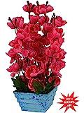 Fancy Mart Artificial Blossom Flowers Plant (12 Inchs/ 30 Cms) Rani Colour Arrangement In Marble Finish Pot