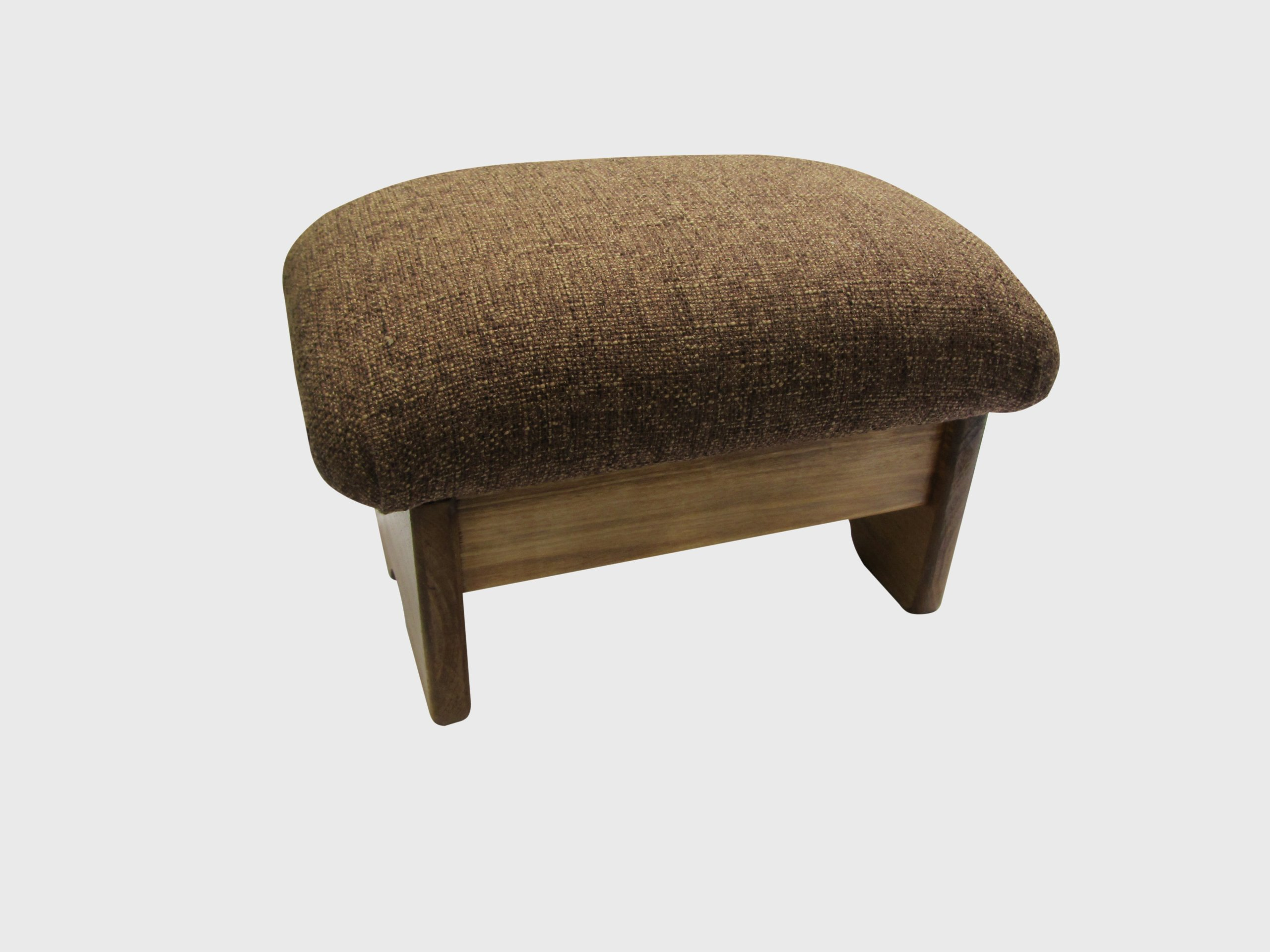KR Ideas Regular Padded Foot Stool - Various Fabrics and Stains (Made in the USA) (Cocoa Brown, Maple Stain, 12'' Tall)