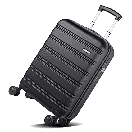 313b36ba65cd REYLEO Hard Shell Luggage 20 Inch Lightweight ABS Trolley Carry On Cabin  Hand Luggage Suitcase with 4 Wheels and USB Charging Port Travel Bag with  TSA ...