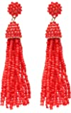 NLCAC Women's Beaded Tassel Earrings Long Fringe Drop Earrings Dangle 4 Colors