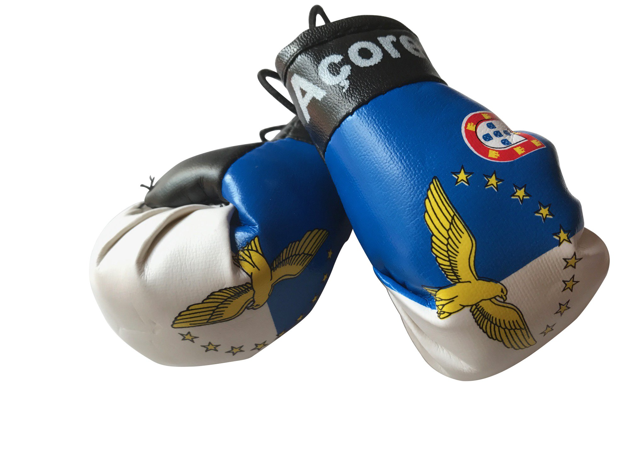 Flag Mini Small Boxing Gloves to Hang Over Car Automobile Mirror – Americas (Country: Azores Acores)