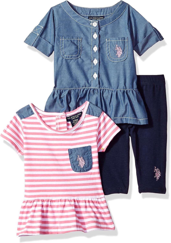Polo Assn U.S Girls Fashion Top and Legging 3 Piece Set