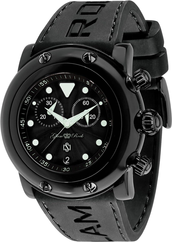 Glam Rock 0.96.2409 - Reloj analógico de cuarzo unisex, correa de silicona color negro