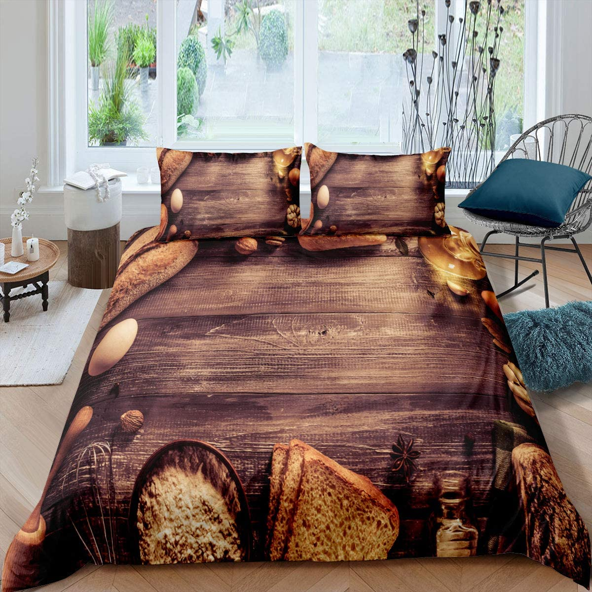 Erosebridal Vintage Bedding Set Queen Size Food Pattern Decor Duvet Cover with Zipper Ties Soft Microfiber Brown Comforter Cover for Adult Women Men Retro Theme Farmhouse Decor Bedspread Cover